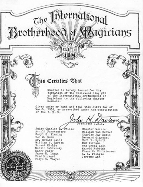 International Brotherhood of Magicians Ring 21 Charter